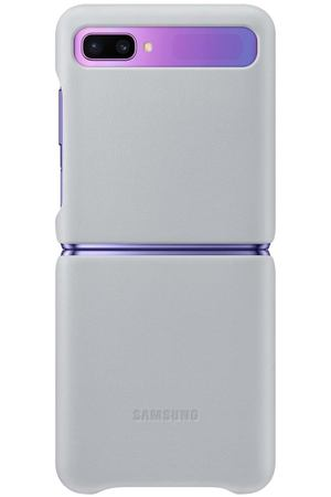 Чехол Samsung Leather Cover для Galaxy Z Flip, Light Grey
